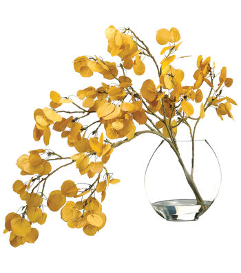 Bloom Room Luxe 24'' Aspen Leaf Spray In Glass-Yellow