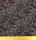 Novelty Cotton Fabric-Pink Ribbon Chalkboard
