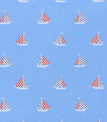 "Nursery Cotton Fabric 43""-Nautical Sailboat"