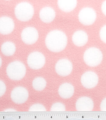 "3 Yard Pre-Cut Blizzard Fleece Fabric 59""-Light Pink & White Dot"