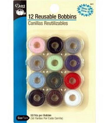 Dritz Pre-filled Reusable Plastic Bobbins with Thread Multi color