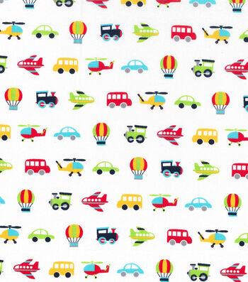 Nursery Cotton Fabric 43''-Transport Vehicles