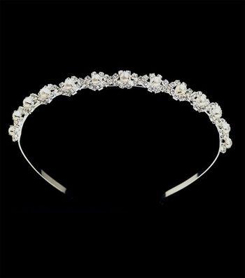 Tiara Pearls & Rhinestones Headband-Silver