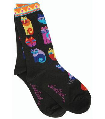 Laurel Burch Socks-Feline Festival-Black