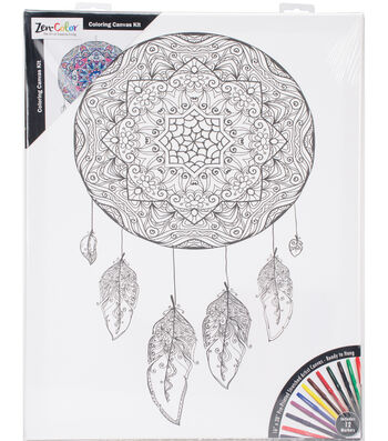 """Adult Coloring Canvas 16""""X20"""" w/12 Markers-Dreamcatcher"""