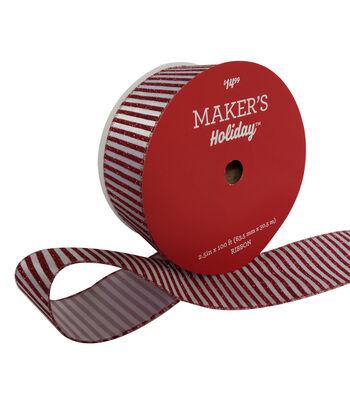 Maker's Holiday Christmas Value Ribbon 2.5''x100'-Red & White Stripe