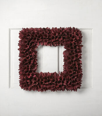 Blooming Autumn 18'' Wood Curl Square Wreath-Burgundy