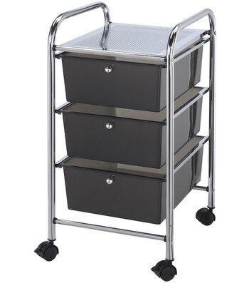 Storage Cart with 3 Drawers-Smoke