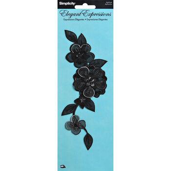 Elegant Expressions Black  Iron On Floral Applique
