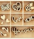 Themed Mini Wooden Flourishes-Love