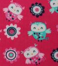 Anti-Pill Fleece Fabric 59\u0022-Woodland Owl On Pink