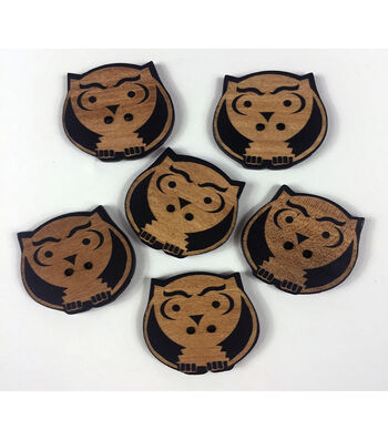 """Organic Elements Wood Buttons 1.25""""-Owl"""