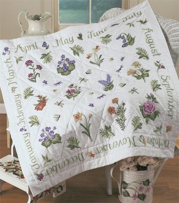"Donna Dewberry Year Of Flowers Lap Quilt Stamped Kit-48""x48"""