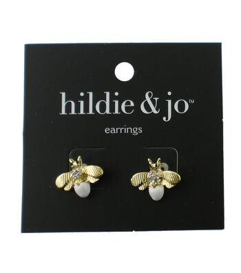 hildie & jo™ Bee Gold Stud Earrings-Clear Crystals