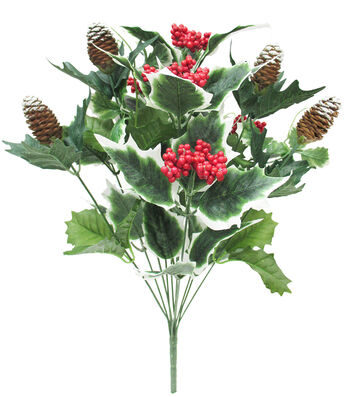 Blooming Holiday Christmas 20'' Berry, Holly Leaves & Pinecone Spray-Red