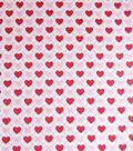 Valentine Print Fabric-Argyle Hearts On White