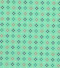 Quilter\u0027s Showcase Cotton Fabric 44\u0027\u0027-Coral, Navy & Teal Diamond on Mint