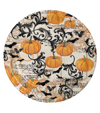 Maker's Halloween 8 Pack Paper Lunch Plates-Pumpkins & Bats