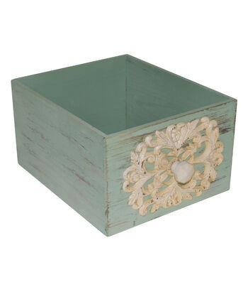 Farm Storage Medium Wooden Crate with Knob-Green