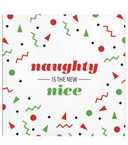 Maker's Holiday Christmas 20 pk Beverage Napkins-Naughty is The New Nice, , hi-res