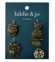 hildie & jo™ 4 Pack Owl & Bug Antique Gold Charms-Pearls, Crystals, , hi-res