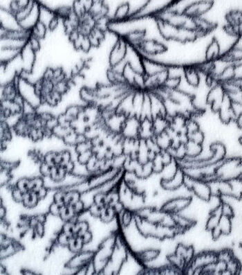 """3 Yard Pre-Cut Anti-Pill Fleece Fabric 57""""-Sketched Floral Gray"""