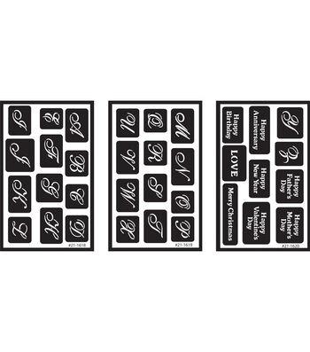 "Over 'n' Over Reusable Glass Etching Stencils 5""X8"" 3/Pkg-Alphabet"