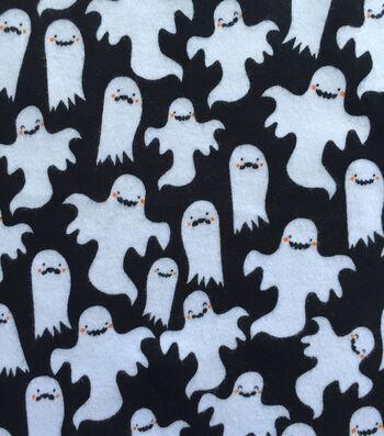 "Doodles Halloween Interlock Cotton Fabric 57""-Black Ghost"