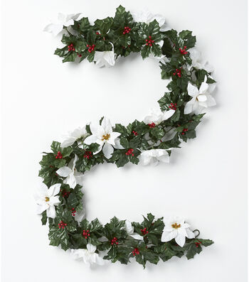 Blooming Holiday Poinsettia, Berry & Holly Leaves Chain Garland-White