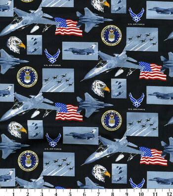"United States Air Force Cotton Fabric 43""-Allover"