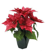 Blooming Holiday Christmas 16'' Poinsettia in Pot-Metallic Red, , hi-res