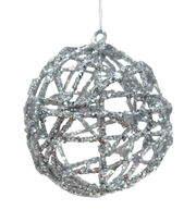 Maker's Holiday Christmas Arctic Frost Wicker Ball Ornament-Silver, , hi-res