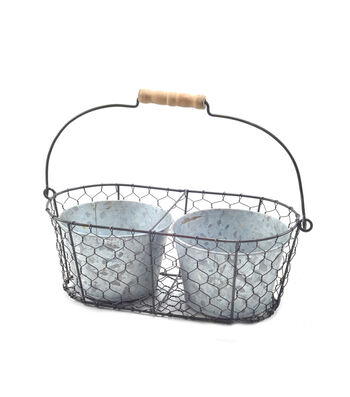 Bloom Room Metal Planter In Metal Basket