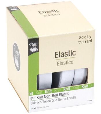 "Dritz Non-Roll Knit Elastic 3/4""X25yd-White"