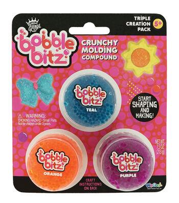Bobble Bitz Crunchy Molding Compound Triple Pack-Teal, Orange & Purple