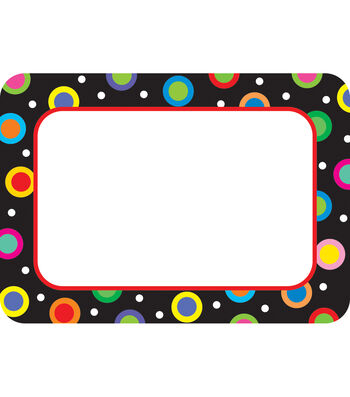 Poppin Patterns: Dots On Black Name Tags