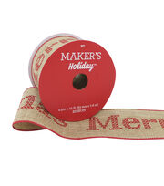 Maker's Holiday Christmas Ribbon 2.5''x25'-Cross Stitch on Natural, , hi-res