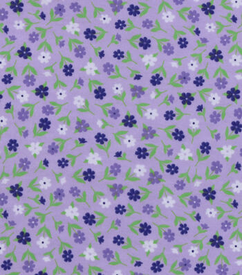 "Snuggle Flannel Fabric 42""-Purple Blue Ditsy Floral"