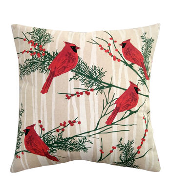 Maker's Holiday Christmas Pillow-Cardinal