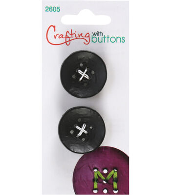 Crafting with Buttons 2 pk Small 9 Hole Buttons-Black