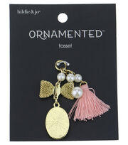 hildie & jo™ Ornamented 2'' Bow & Oval Gold with Pink Tassel, , hi-res