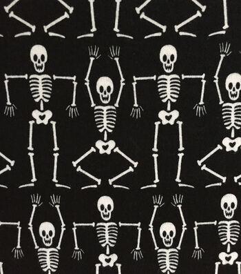 """Doodles Halloween Interlock Cotton Fabric 57""""-Dancing Skeletons"""