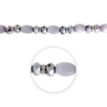 "Blue Moon Beads 7"" Crystal Strand, Cat's Eye with Metal Spacers, Grey"