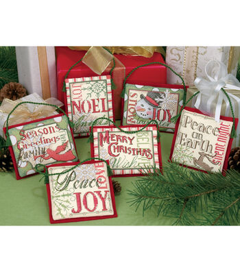 Dimensions Christmas Sayings Ornaments Counted Cross Stitch Kit