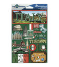 Jet Setters International Dimensional Stickers 4.5\u0022X6.75\u0022-Italy
