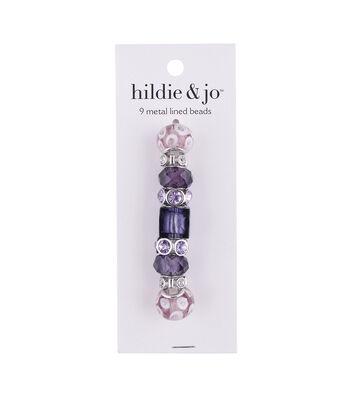 hildie & jo™ 9 pk Metal Lined Glass Beads-Pink & Purple