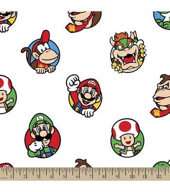 Nintendo Mario Character Print Fabric