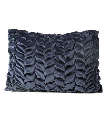 Fall Into Color Velvet Weave Pillow-Blue