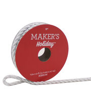 Maker's Holiday Christmas Cord Ribbon 1/6''x9'-White & Silver, , hi-res