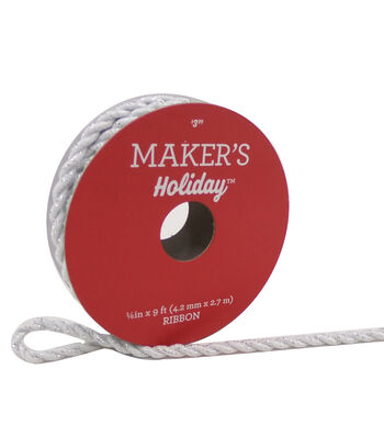 Maker's Holiday Christmas Cord Ribbon 1/6''x9'-White & Silver